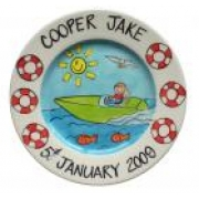 Handpainted Plate - Speed Boat